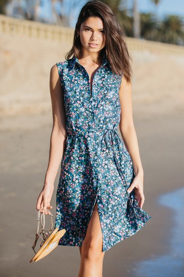 Lipsy Floral Printed Sleeveless Shirt Dress