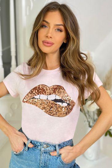 Lipsy Pink Rose Gold Lips Regular Logo Tee