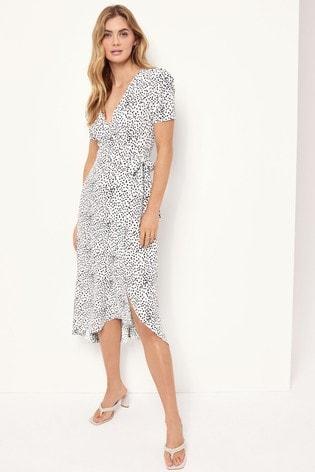 Lipsy White/Grey Ruched Sleeve Wrap Midi Dress