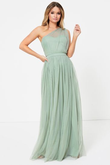 Anaya With Love Green Regular One Shoulder Maxi Dress