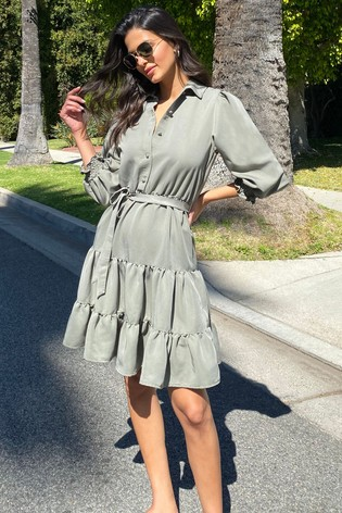 Lipsy Olive Tiered Supersoft Shirtdress