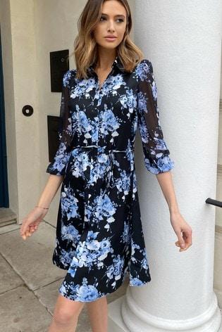 Lipsy Blue Floral Shirt Dress
