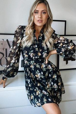 Lipsy Floral Print Regular Tie Waist Shirt Dress