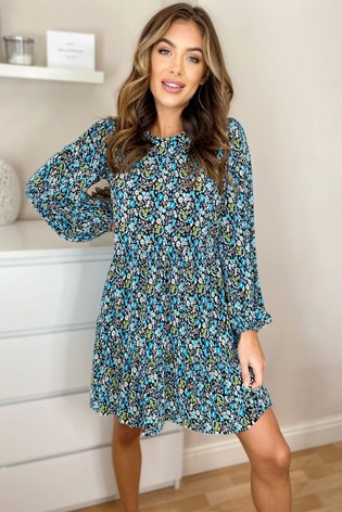 Lipsy Blue Floral Smock Dress