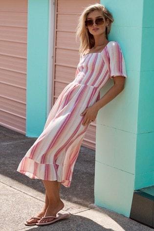 Lipsy Multi Regular Square Neck Shirred Midi Dress