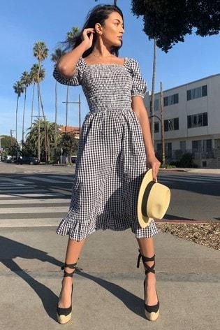 Lipsy Monochrome Regular Square Neck Shirred Midi Dress