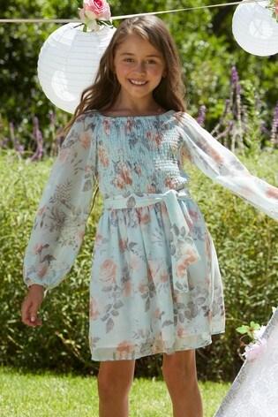 Lipsy Light Blue Floral Shirred Long Sleeve Chiffon Dress