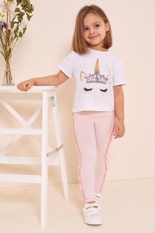 Lipsy White Unicorn Mini Tee & Frill Legging Set
