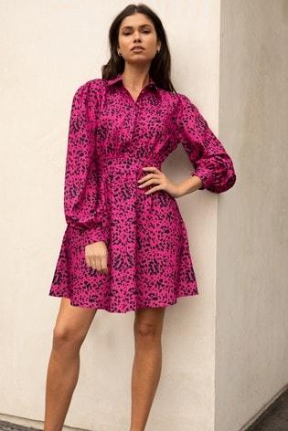 Lipsy Pink Spot Regular Tie Waist Shirt Dress