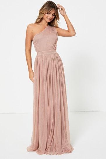 Anaya With Love Pink Regular One Shoulder Maxi Dress