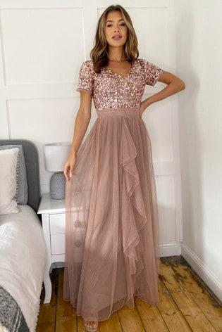 Sistaglam Rose Gold Cap Sleeve Maxi Dress