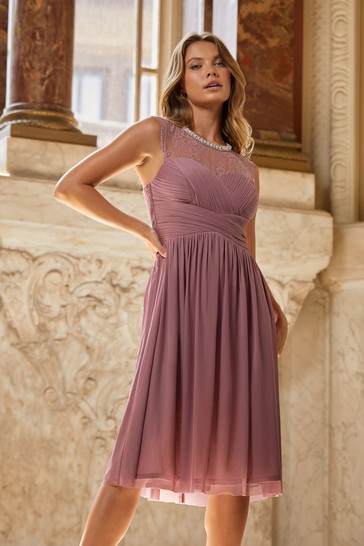Lipsy Rose Pink Esme Lace Sleeveless Mesh Midi Bridesmaid Dress
