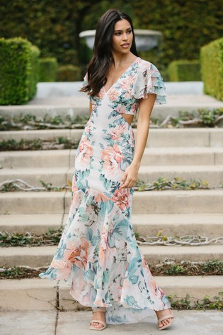 Lipsy Floral Cut Out Maxi Dress
