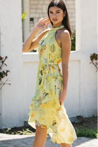 Lipsy Yellow Regular Halter Ruffle Midi Dress