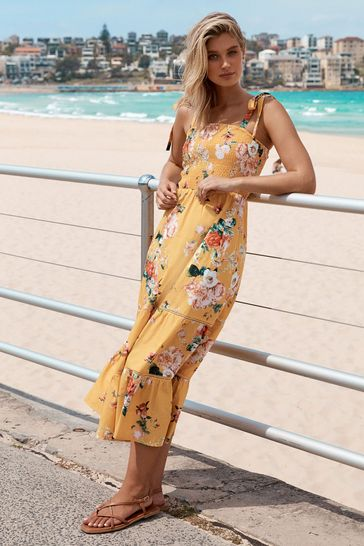Lipsy Yellow Floral Tie Strap Tiered Maxi Dress