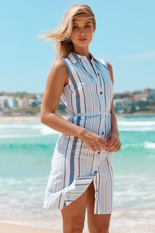Lipsy Blue Stripe Printed Sleeveless Shirt Dress