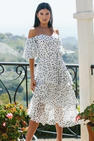 Lipsy Monochrome Spot Bardot Tiered Midi Dress