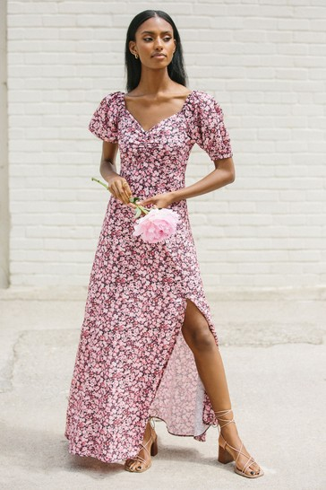 Lipsy Pink floral Puff Sleeve Sweetheart Maxi Dress