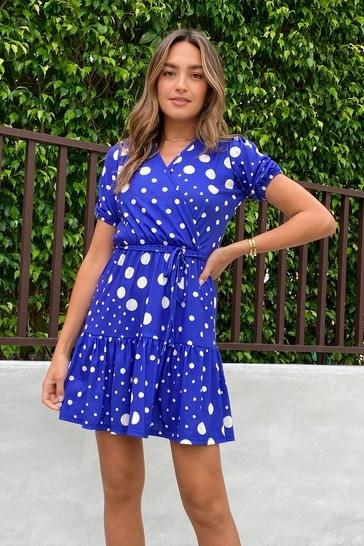 Lipsy Cobalt Tier Wrap Dress