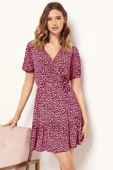 Lipsy Pink Animal Tier Wrap Dress