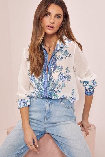 Blue Paisley Regular Printed Shirt