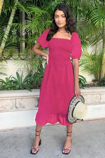 Lipsy Pink Regular Square Neck Shirred Midi Dress