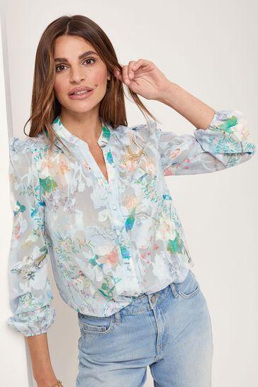 Lipsy Blue Floral Burnout Regular Grandad Collar Shirt