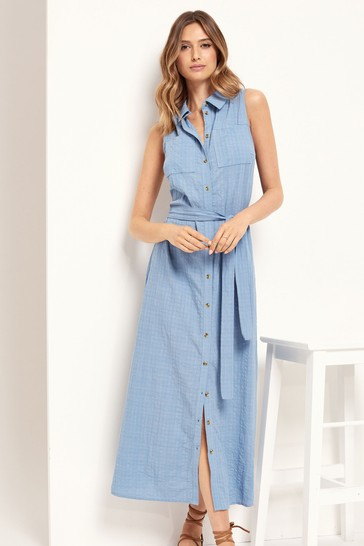 Lipsy Blue Sleeveless Shirt Dress