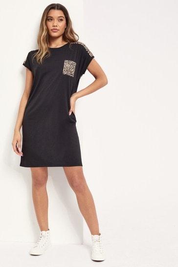 Lipsy Black Animal T Shirt Dress
