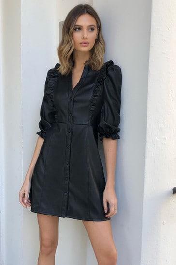 Lipsy Faux Leather Ruffle Trim Shirt Dress