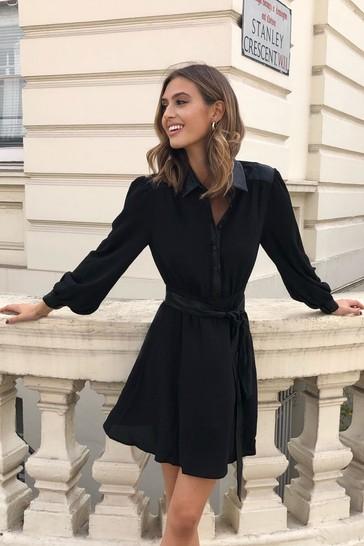Lipsy Black Regular Tie Waist Shirt Dress
