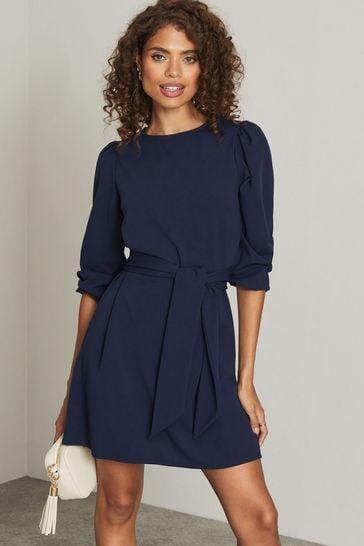 Lipsy Navy Puff Sleeve Tie Waist Shift Dress