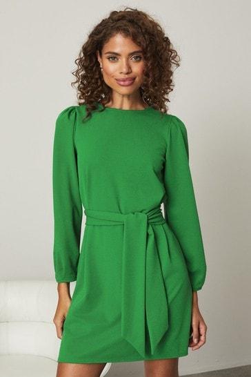 Lipsy Green Puff Sleeve Tie Waist Shift Dress
