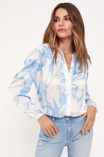 Lipsy Blue Print Regular Grandad Collar Shirt