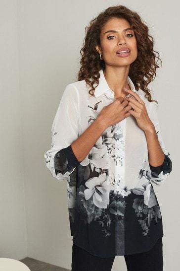 Lipsy Mono Floral Regular Printed Shirt