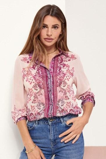 Lipsy Pink Paisley Regular Printed Shirt