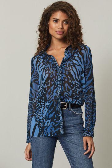 Lipsy Blue Animal Regular Printed Shirt