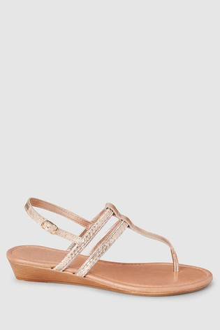 Rose Gold Forever Comfort® Low Wedges With Toe Post