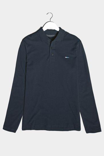 BadRhino Black Essential Long Sleeve Polo Shirt
