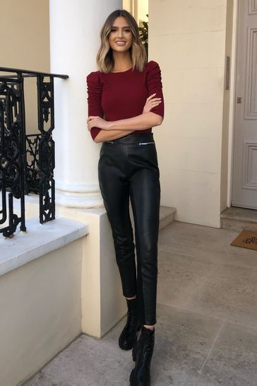 Lipsy Black Leather Trousers
