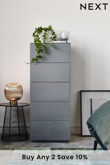 Sloane Glass 5 Drawer Tall Chest