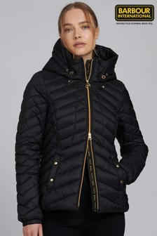 Barbour® International Black Hooded Sitka Puffer Quilted Jacket