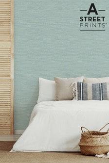 A Street Aqua Grasscloth Textured Wallpaper