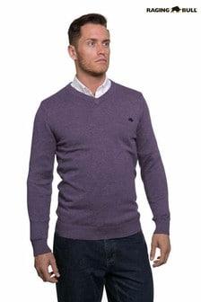 Raging Bull Purple Signature V-Neck Sweater
