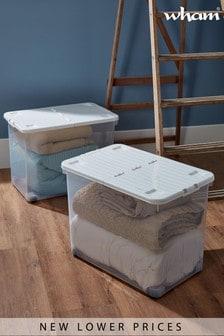 Set of 2 Wham Uni 80L Plastic Storgage Box With Folding Lid and Wheels
