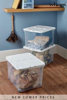 Set of 3 Wham Uni 44L Plastic Storage Box With Folding Lid and Wheels