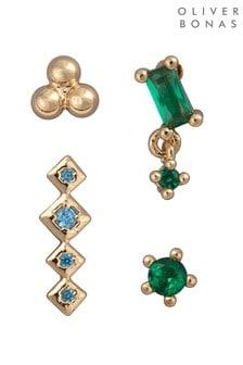 Oliver Bonas Multi Jules Green Mixed Shapes Stud Earrings