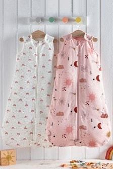 2 Pack Pink Rainbows & Sunshine 2.5 Tog Sleep Bag