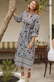 Boden Blue Addie Linen Midi Dress