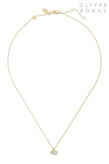 Oliver Bonas Green Stone & Gold Plated Pendant Necklace